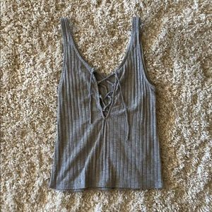 Urban Outfitters Gray Laced-Up Tank Top